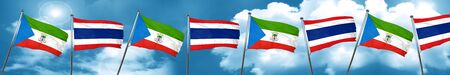 Equatorial guinea flag with Thailand flag, 3D rendering