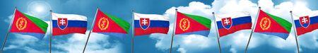 Eritrea flag with Slovakia flag, 3D rendering