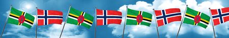 norway flag: Dominica flag with Norway flag, 3D rendering Stock Photo