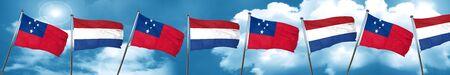 Samoa flag with Netherlands flag, 3D rendering