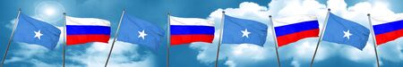 Somalia flag with Russia flag, 3D rendering