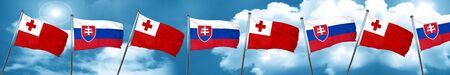 tonga: Tonga flag with Slovakia flag, 3D rendering