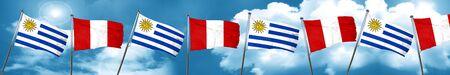 bandera de uruguay: Uruguay flag with Peru flag, 3D rendering