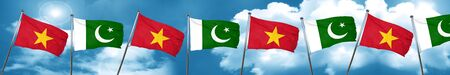flag of pakistan: Vietnam flag with Pakistan flag, 3D rendering Stock Photo