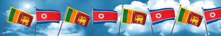 Sri lanka flag with North Korea flag, 3D rendering Stock Photo