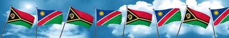 Bandera de Vanatu con la bandera de Namibia, 3D