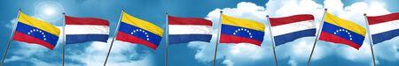 bandera de venezuela: Venezuela flag with Netherlands flag, 3D rendering Foto de archivo
