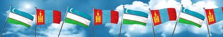 uzbekistan: Uzbekistan flag with Mongolia flag, 3D rendering