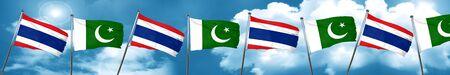 combines: Bandera de Tailandia con la bandera de Pakistán, representación 3D