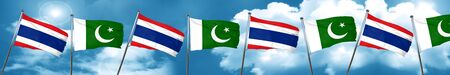 flag of pakistan: Thailand flag with Pakistan flag, 3D rendering Stock Photo