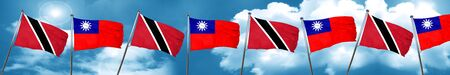Trinidad and tobago flag with Taiwan flag, 3D rendering Stock Photo