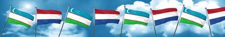 Uzbekistan flag with Netherlands flag, 3D rendering