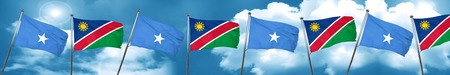 Somalia flag with Namibia flag, 3D rendering
