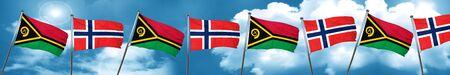 norway flag: Vanatu flag with Norway flag, 3D rendering Stock Photo