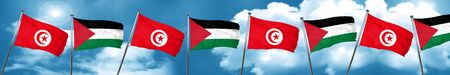 flag: Tunesia flag with Palestine flag, 3D rendering