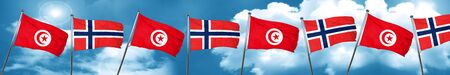 Tunesia flag with Norway flag, 3D rendering