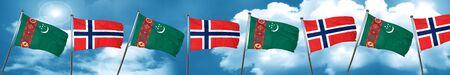 combines: Turkmenistan flag with Norway flag, 3D rendering Foto de archivo