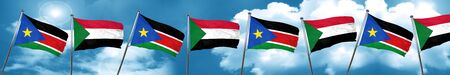 south sudan flag with Sudan flag, 3D rendering