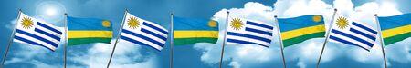 bandera de uruguay: Uruguay flag with rwanda flag, 3D rendering Foto de archivo