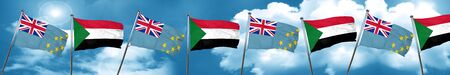 Tuvalu flag with Sudan flag, 3D rendering Stock Photo