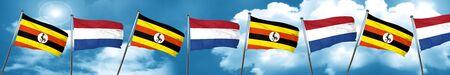 Uganda flag with Netherlands flag, 3D rendering Stock Photo