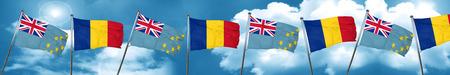 tuvalu: Tuvalu flag with Romania flag, 3D rendering