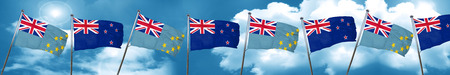 Tuvalu flag with New Zealand flag, 3D rendering Stock Photo