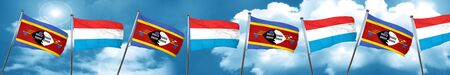 Swaziland flag with Luxembourg flag, 3D rendering Stock Photo