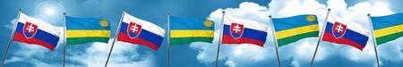Slovakia flag with rwanda flag, 3D rendering Stock Photo