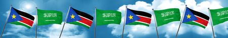 south sudan flag with Saudi Arabia flag, 3D rendering Stock Photo