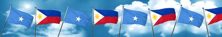 Somalia flag with Philippines flag, 3D rendering