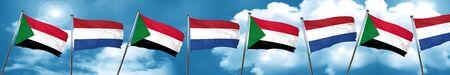 netherlands flag: Sudan flag with Netherlands flag, 3D rendering
