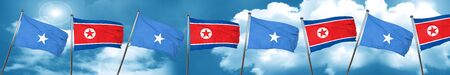 Somalia flag with North Korea flag, 3D rendering Stock Photo