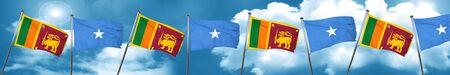Sri lanka flag with Somalia flag, 3D rendering