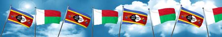 Swaziland flag with Madagascar flag, 3D rendering