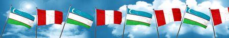bandera de peru: Uzbekistan flag with Peru flag, 3D rendering Foto de archivo