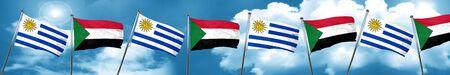 bandera de uruguay: Uruguay flag with Sudan flag, 3D rendering