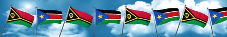 Vanatu flag with South Sudan flag, 3D rendering Stock Photo