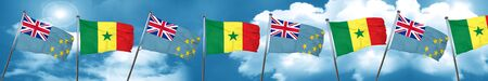 tuvalu: Tuvalu flag with Senegal flag, 3D rendering