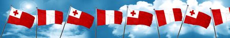 bandera de peru: Tonga flag with Peru flag, 3D rendering Foto de archivo