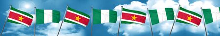 country nigeria: Suriname flag with Nigeria flag, 3D rendering