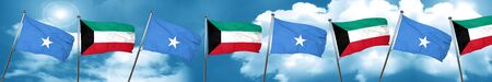 Somalia flag with Kuwait flag, 3D rendering