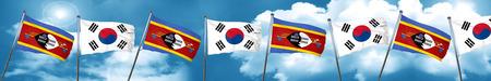 Bandera de Swazilandia con bandera de Corea del Sur, 3D Foto de archivo