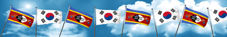 Swaziland flag with South Korea flag, 3D rendering Stock Photo