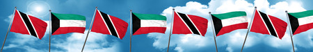 Trinidad and tobago flag with Kuwait flag, 3D rendering Stock Photo