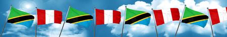 bandera de peru: Tanzanian flag with Peru flag, 3D rendering