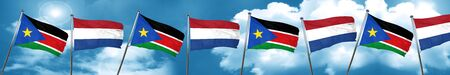 south sudan flag with Netherlands flag, 3D rendering Stock Photo
