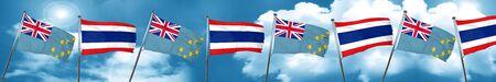 tuvalu: Tuvalu flag with Thailand flag, 3D rendering