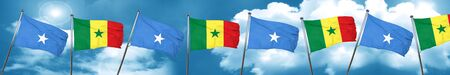 Somalia flag with Senegal flag, 3D rendering