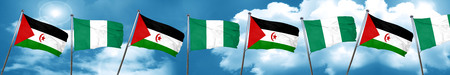 country nigeria: Western sahara flag with Nigeria flag, 3D rendering